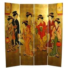 "72"" x 64"" Geisha Decorative 4 Panel Room Divider"