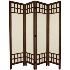 "67"" Tall Window Pane Fabric 4 Panel Room Divider"