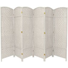 "71"" Tall Diamond Weave Fiber 6 Panel Room Divider"