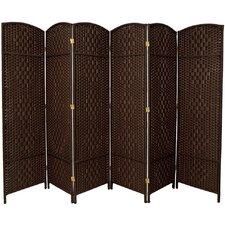 "71"" x 96"" Tall Diamond Weave Fiber 6 Panel Room Divider"