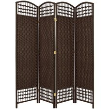 "67"" Tall Fiber Weave 4 Panel Room Divider"