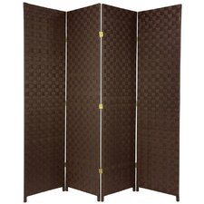 """71"""" Tall Woven Fiber Outdoor All Weather 4 Panel Room Divider"""