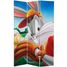 "71"" x 47.25"" Tall Double Sided Bugs and Tweety 3 Panel Room Divider"