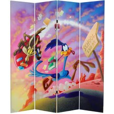 "71""x 63"" Tall Double Sided Roadrunner and Daffy Duck 4 Panel Room Divider"