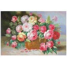 Hand Painted Basket of Peonies Original Painting on Wrapped Canvas