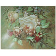 Hand Painted Portrait of a Peach Peony Original Painting on Wrapped Canvas