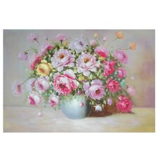 Hand Painted Peonies on Display Original Painting on Wrapped Canvas
