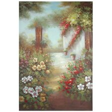 Hand Painted Path through the Flowers Original Painting on Wrapped Canvas