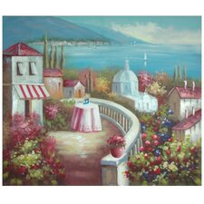 Hand Painted Riviera Cafe for Two Original Painting on Wrapped Canvas