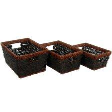 Hand Woven Rush Grass Shelf Basket (Set of 3)