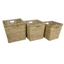3 Piece Hand Woven Rush Grass Basket Bin Set