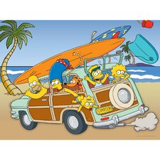 The Simpsons Family Vacation Graphic Art on Canvas