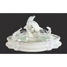 Pooled Cast Stone Grande Millennia Dolphin Fountain