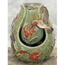Porcelain Hummingbird Water Fountain