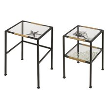 Glass and Metal Pen and Ink Sea Shell 2 Piece Nesting Tables Set
