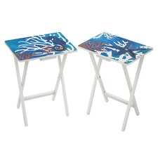 Coastal Foldable Side TV Tray (Set of 2)