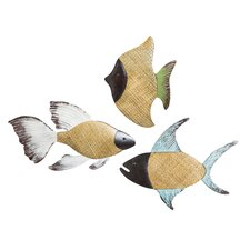 3 Piece Metal and Woven Glass Fish Wall Decor Set
