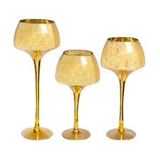 3 Piece Glass Hurricane Set (Set of 3)