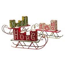 3 Piece Hope Joy Noel Wooden Candle Holder Set
