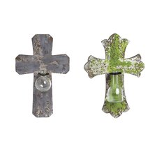 2 Piece Crosses with Decorative Glass Vases Wall Décor Set