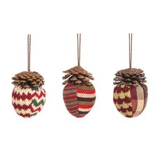 3 Piece Fabric Acorn Ornament Set