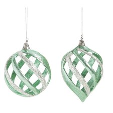2 Piece Acrylic Twisted Glitter Ornament Set