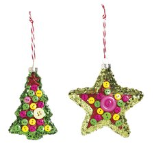 2 Piece Button and Sequin Shaped Ornament Set
