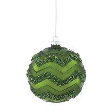 Emerald Glitter Chevron Glass Ornament