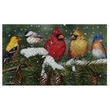 Backyard Birds On Snowy Branch Embossed Floor Mat