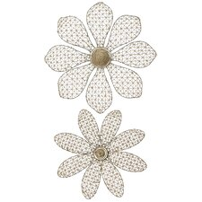 Wire And Woven Cord Flower Wall Decor (Set of 2)