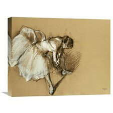 Dancer Adjusting Her Shoe by Edgar Degas Painting Print on Wrapped Canvas