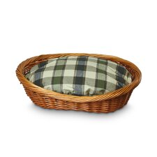 Wicker Colonial Plaid Dog Basket and Bed