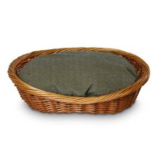 Luxury Wicker Herringbone Dog Basket and Bed