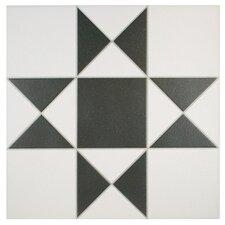 """Narcisso Blanco 13"""" x 13"""" Ceramic Field Tile in Black and White"""