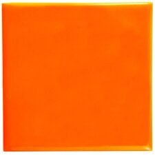 "Contour Square 3.75"" x 3.75"" Ceramic Field Tile in Orange"