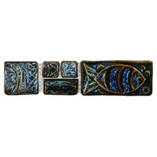"Reef 8"" x 2"" Aquatica Handmade Ceramic Mosaic Wall Tile in Cobalto"