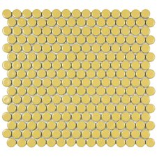 """Penny 0.75"""" x 0.75"""" Porcelain Mosaic Tile in Vintage Yellow"""