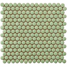 """Penny 0.75"""" x 0.75"""" Porcelain Mosaic Tile in Moss Green"""