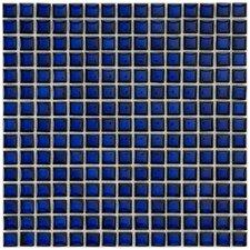 "Morgan .625"" x .625"" Porcelain Mosaic Floor and Wall Tile in Cobalt"