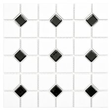 Cambridge Random Sized Porcelain Mosaic Tile in Black Dot