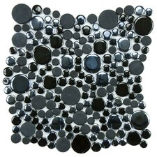 Posh Bubble Random Sized Porcelain Mosaic Tile in Black