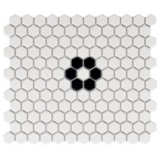 "Retro 0.875"" x 0.875"" Porcelain Mosaic Tile in Matte White"