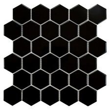 "Retro 2"" x 2"" Porcelain Mosaic Tile in Glossy Black"