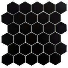 "Retro 2"" x 2"" Porcelain Mosaic Tile in Matte Black"