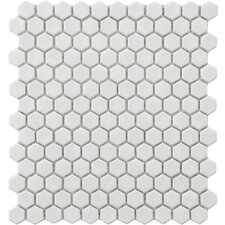 "Retro 0.875"" x 0.875"" Porcelain Mosaic Tile in White"