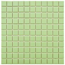 "Retro 1"" x 1"" Porcelain Mosaic Tile in Matte Light Green"