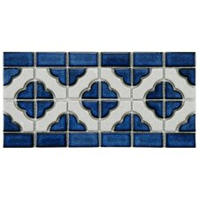 Castle Porcelain Hand-Painted Tile in White and Cobalt