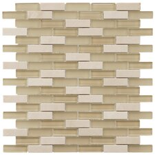 """Sierra 0.5"""" x 1.875"""" Glass and Natural Stone Mosaic Tile in Sandstone"""