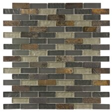 """Sierra 0.5"""" x 1.875"""" Glass and Natural Stone Mosaic Tile in Wisp"""