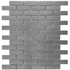 "Metallic 0.75"" x 2.5"" Stainless Steel, Ceramic Mosaic Tile in Silver"